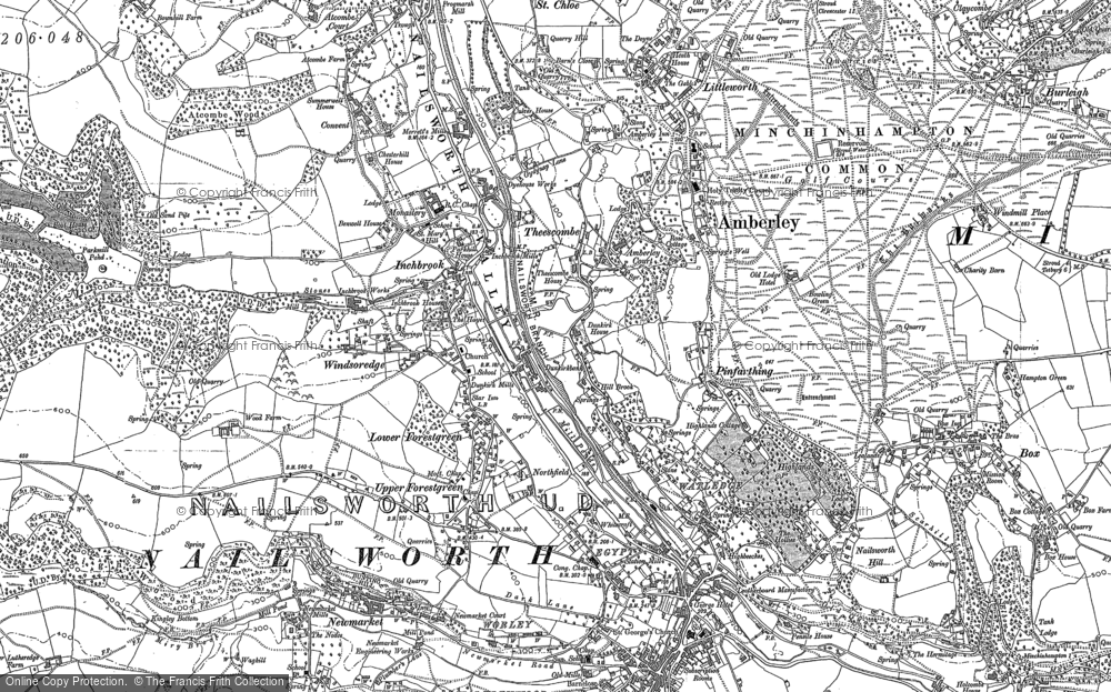 Old Map of Inchbrook, 1882 in 1882