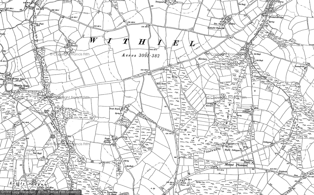 Old Map of Historic Map covering Lanjew in 1880