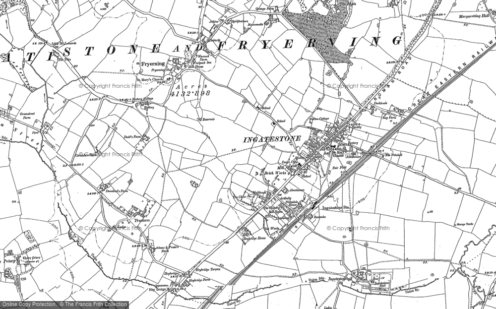 Old Map of Ingatestone, 1895 in 1895
