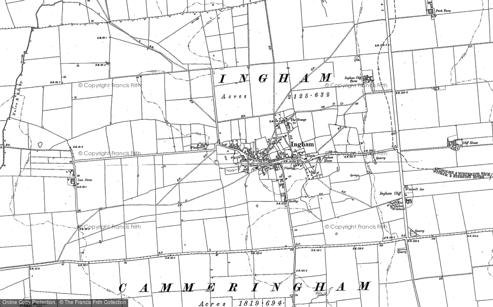 Old Map of Historic Map covering Lincolnshire Rescue Kennels in 1885