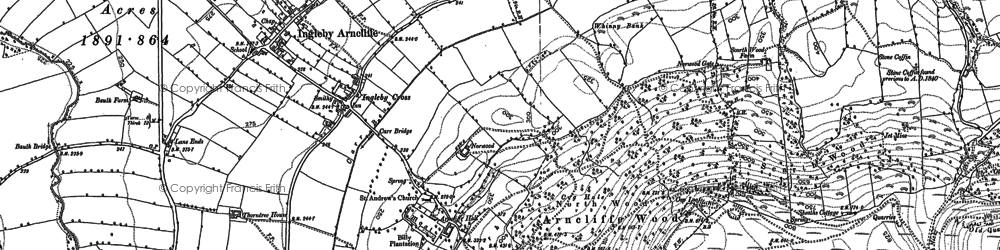 Old map of Ingleby Cross in 1890