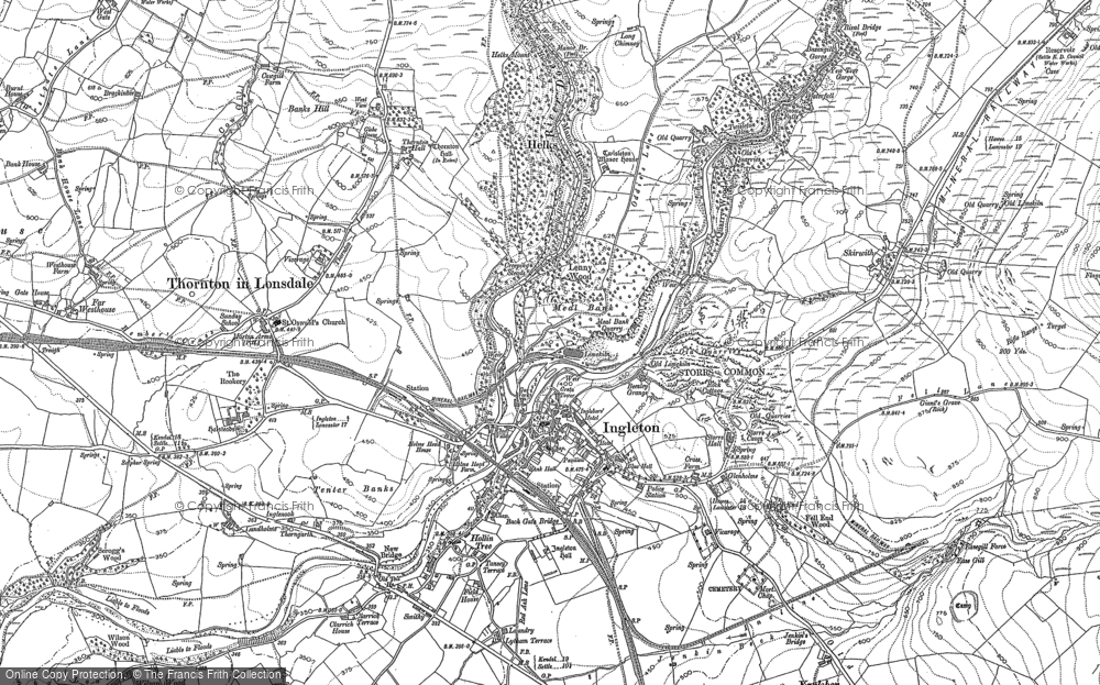 Old Map of Historic Map covering Lead Mine Moss in 1907