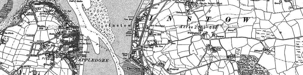 Old map of Worlington in 1887