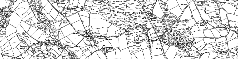 Old map of Westacott in 1884