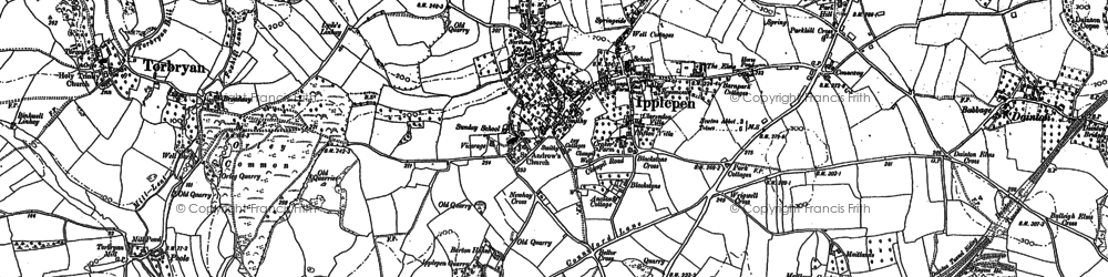 Old map of Ipplepen in 1886