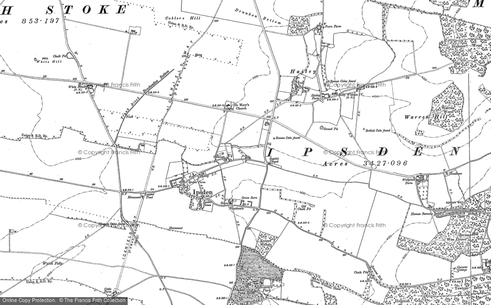 Old Map of Historic Map covering Bachelor's Hill in 1897