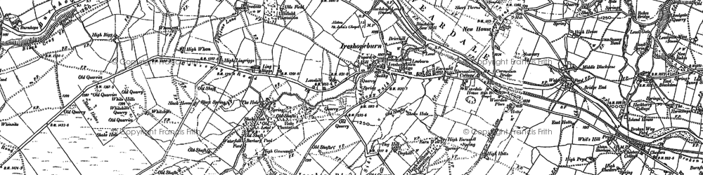 Old map of Ireshopeburn in 1896