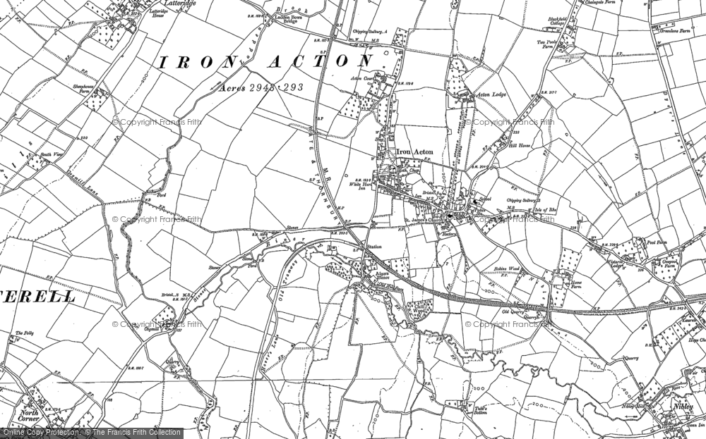 Old Map of Historic Map covering Algars Manor in 1879