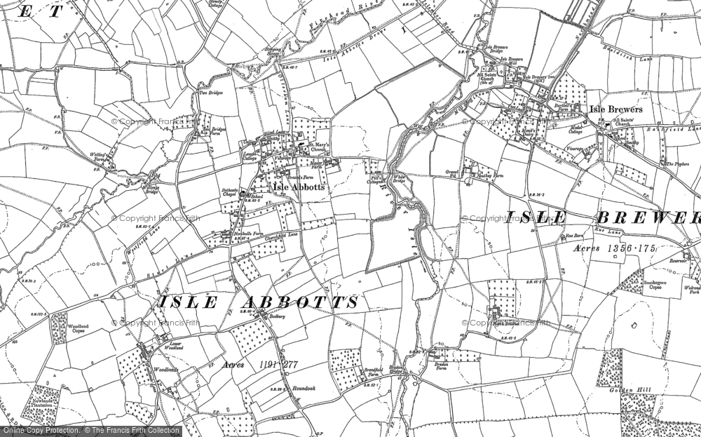 Old Map of Historic Map covering Badbury in 1886