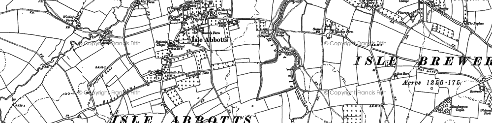 Old map of Badbury in 1886