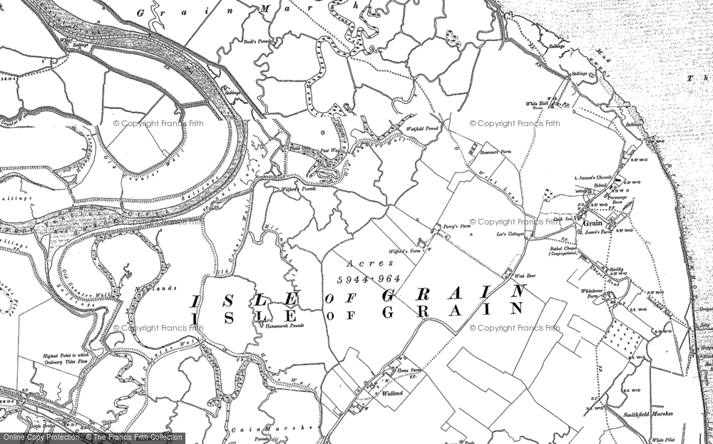 Old Map of Historic Map covering Lees Marshes in 1895