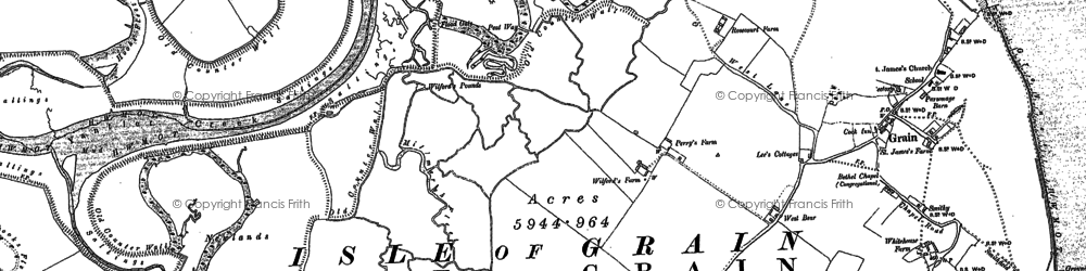 Old map of Lees Marshes in 1895