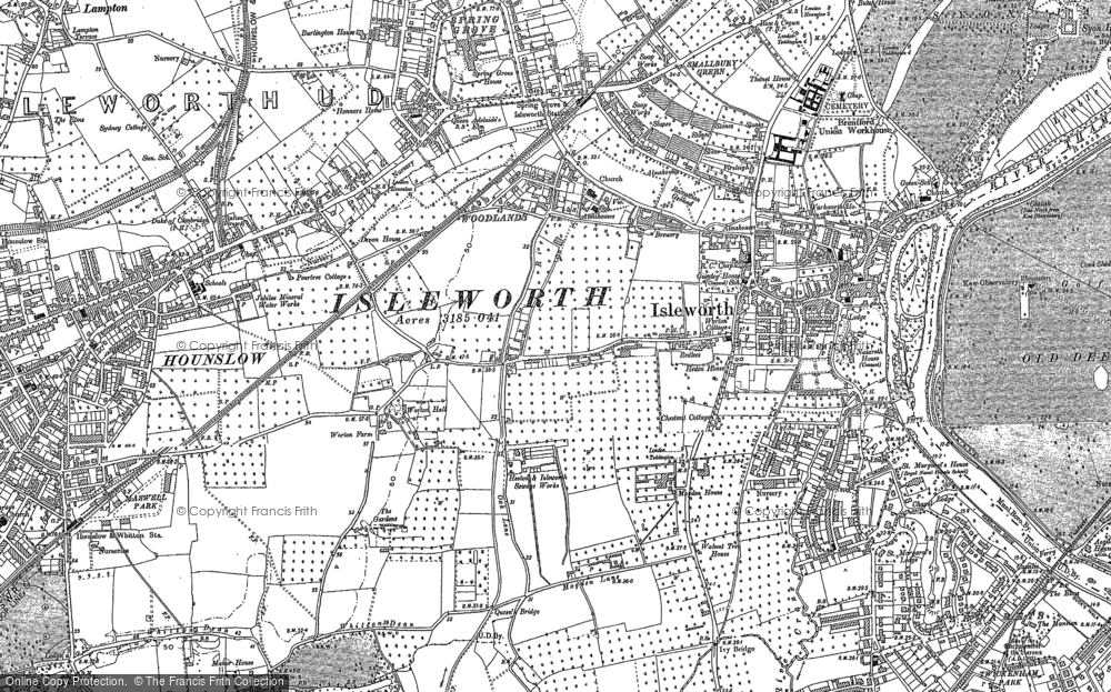 Old Map of Historic Map covering Woodlands in 1894