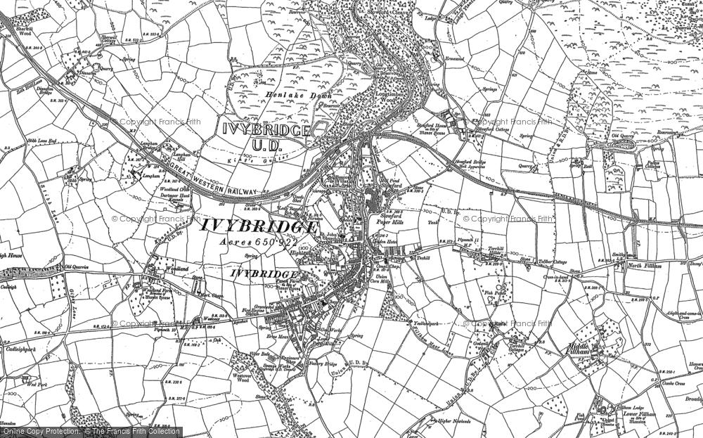Old Map of Ivybridge, 1886 in 1886