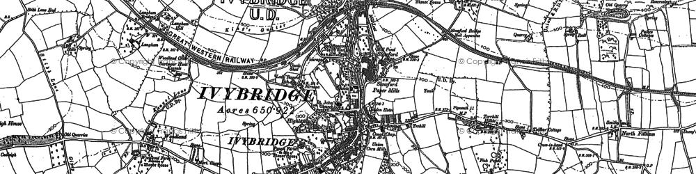 Old map of Ivybridge in 1886