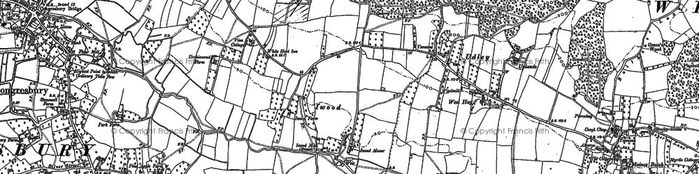 Old map of Brinsea in 1883