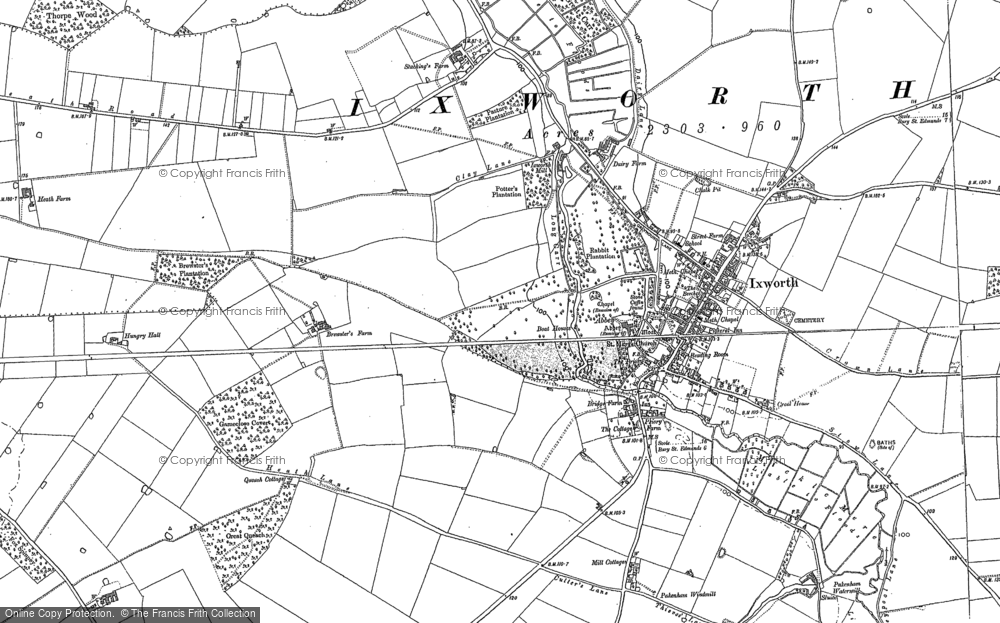 Old Map of Ixworth, 1883 in 1883