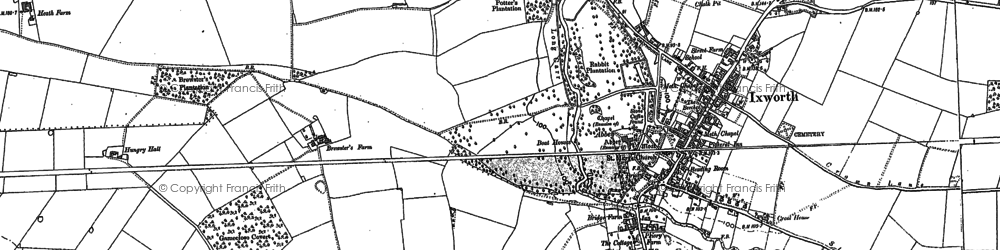 Old map of Ixworth in 1883