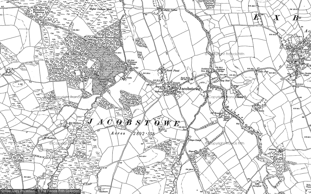 Old Map of Historic Map covering Woodhall in 1884