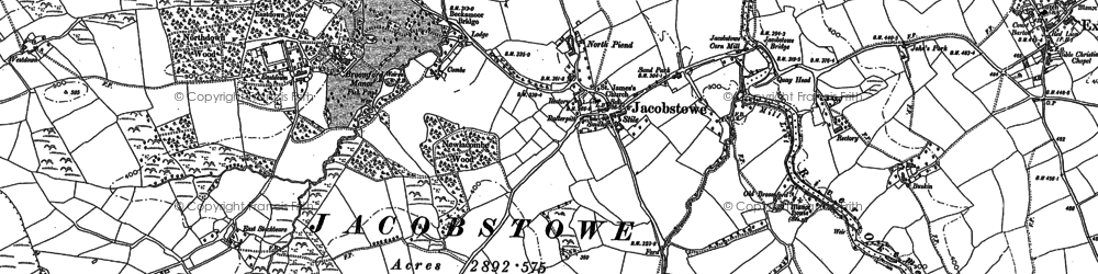 Old map of Westdown in 1884
