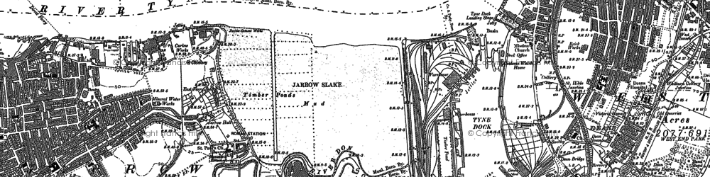 Old map of Jarrow in 1914
