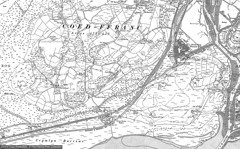 Old Map of Historic Map covering Baglan Bay in 1897