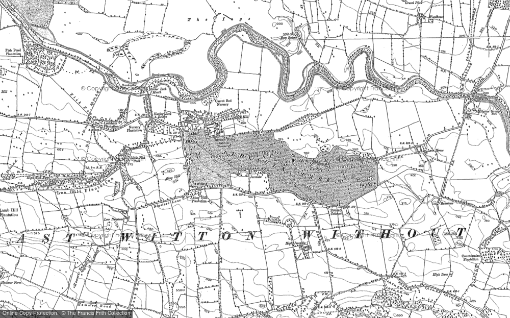 Old Map of Historic Map covering Abbey Hill in 1891