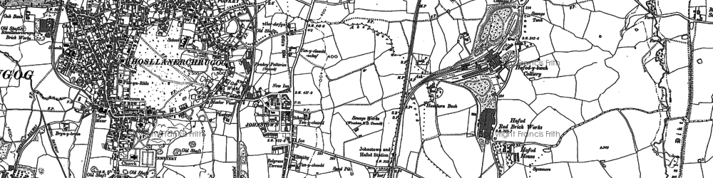 Old map of Afon Eitha in 1909
