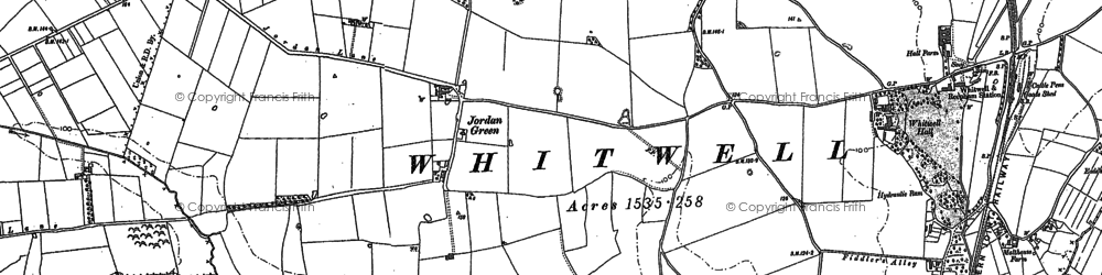 Old map of Whitwell Hall in 1885