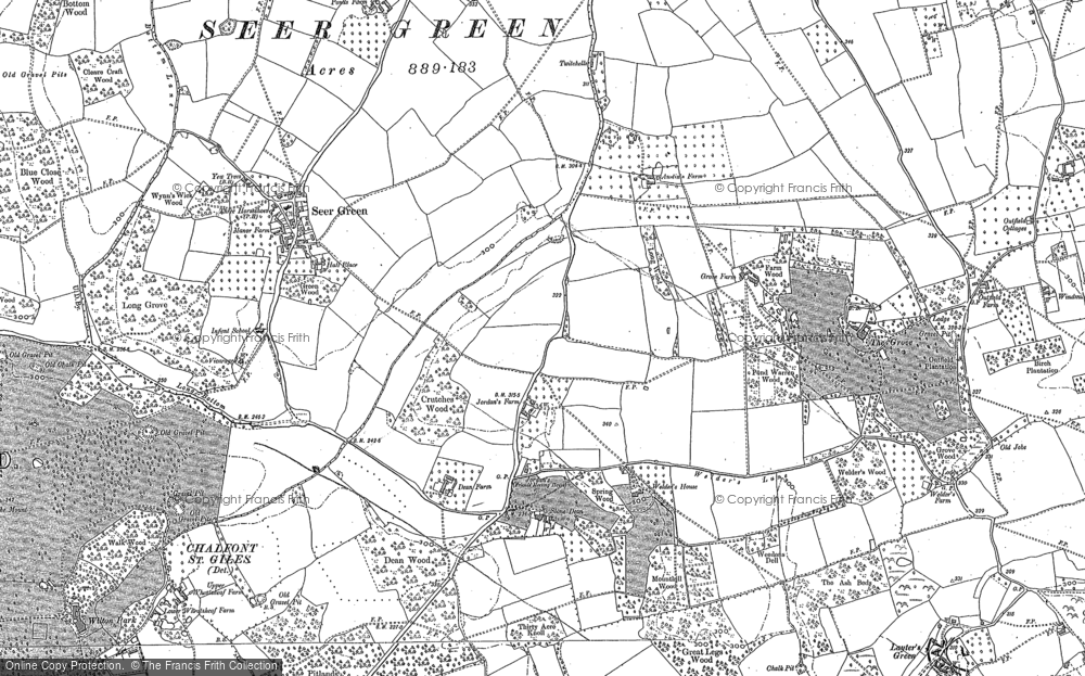 Old Map of Historic Map covering Layters Green in 1897