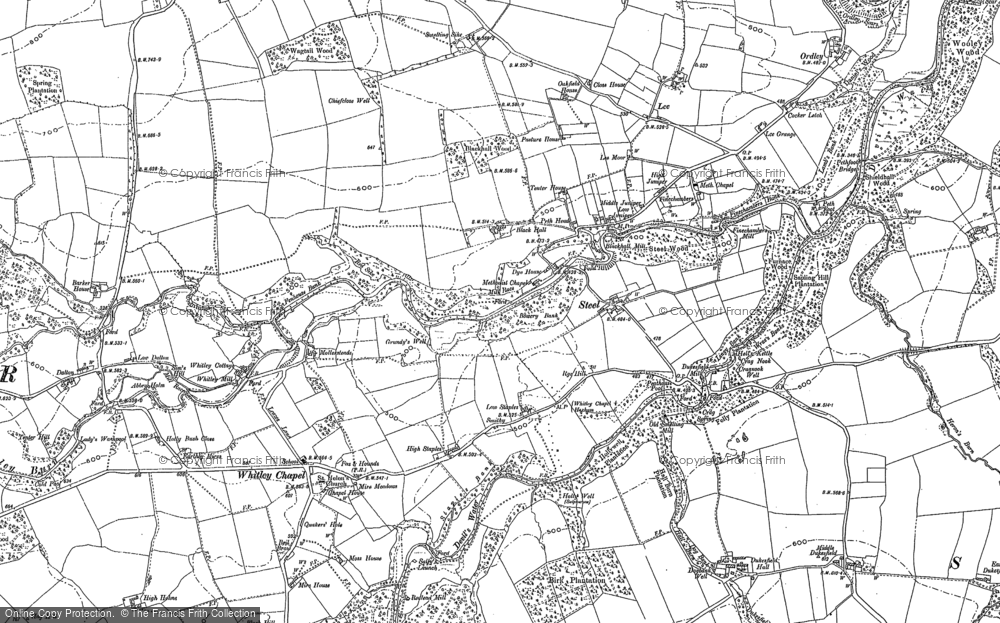 Old Map of Historic Map covering Linnel Hill in 1895
