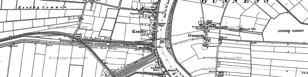 Old map of Althorpe Sta in 1885
