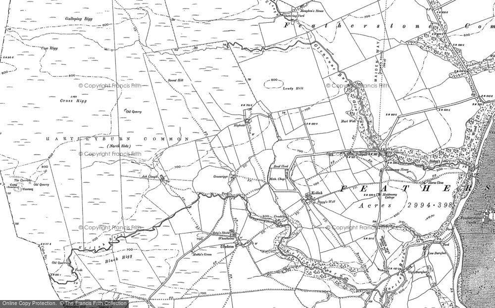 Old Map of Historic Map covering Ash Cleugh in 1946