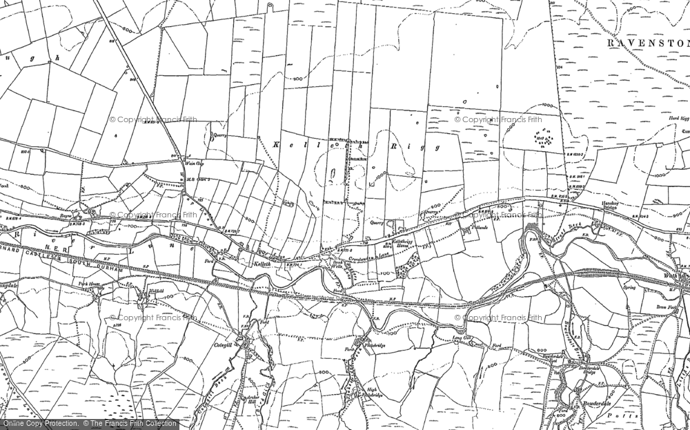 Old Map of Historic Map covering Langdale Knott in 1897