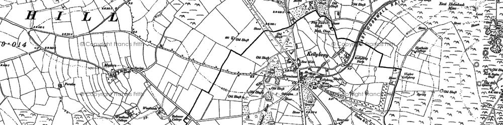 Old map of Kelly Bray in 1905