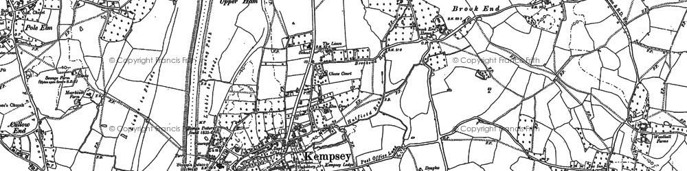 Old map of Kempsey in 1884