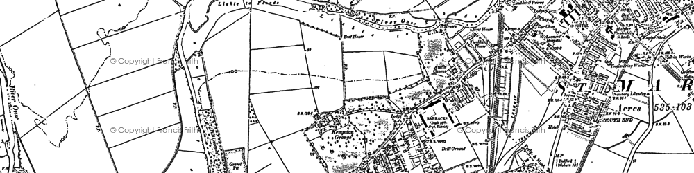 Old map of Kempston in 1882