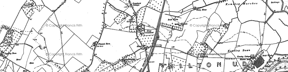 Old map of Kemsley in 1896