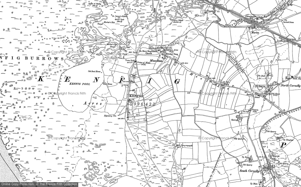 Old Map of Historic Map covering Afon Cynffig in 1897