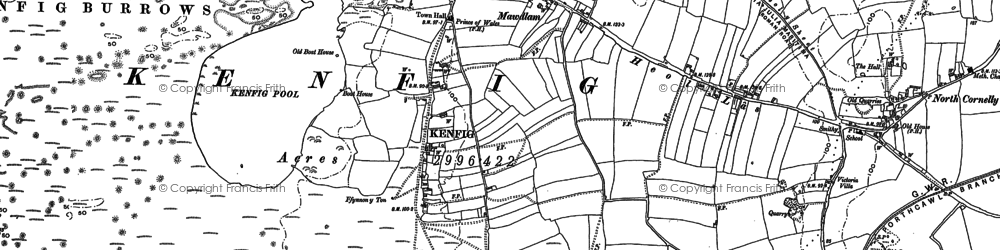 Old map of Afon Cynffig in 1897