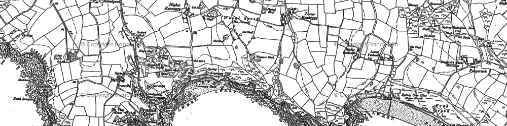 Old map of Kenneggy in 1907