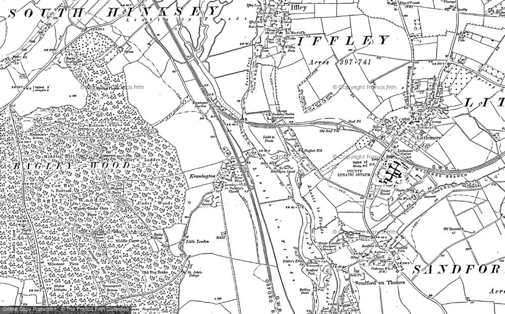 Old Map of Historic Map covering Bagley Wood in 1910
