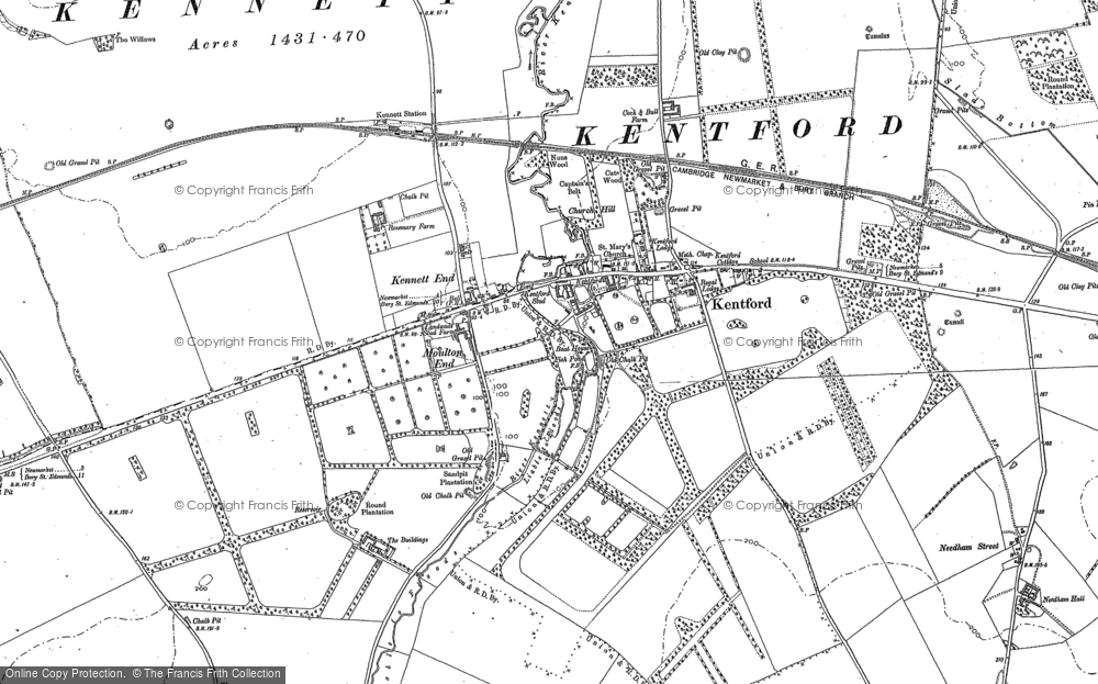 Old Map of Historic Map covering Lanwades Park in 1881