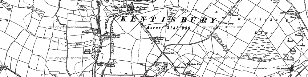 Old map of Kentisbury in 1886