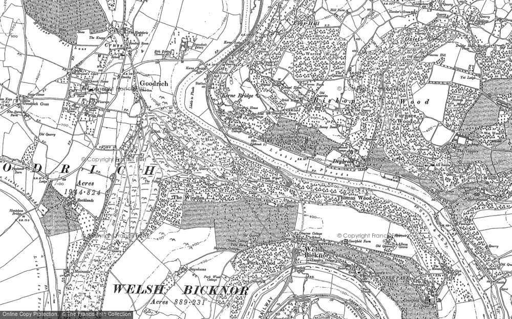 Old Map of Kerne Bridge, 1887 - 1903 in 1887