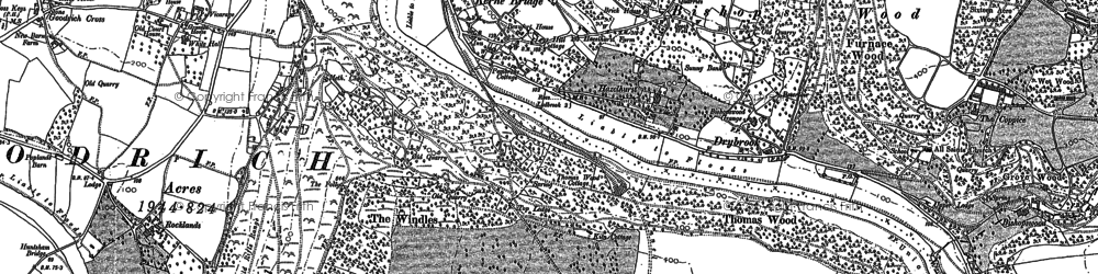 Old map of Kerne Bridge in 1887