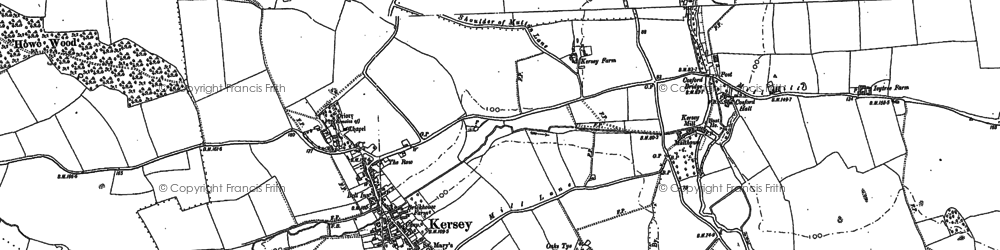 Old map of Kersey in 1884