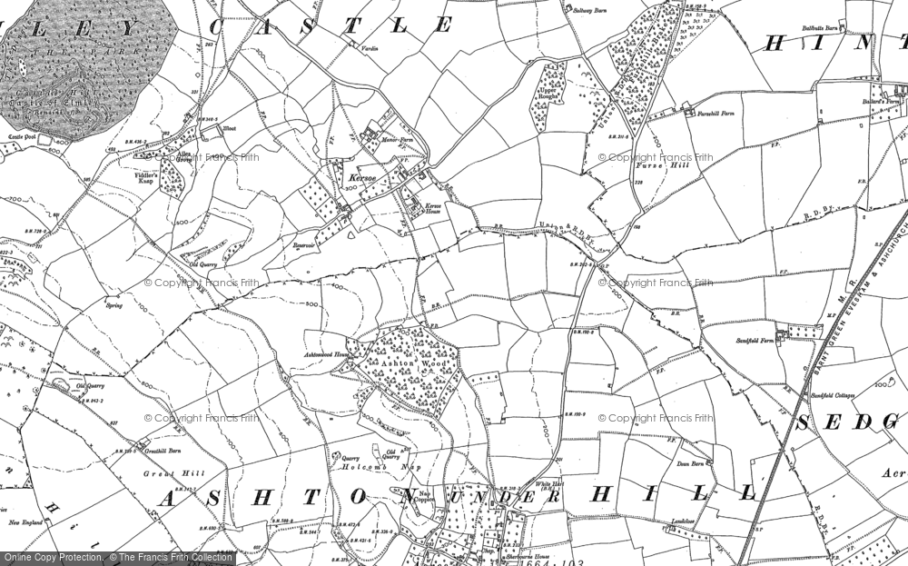 Old Map of Historic Map covering Ashton Wood in 1884
