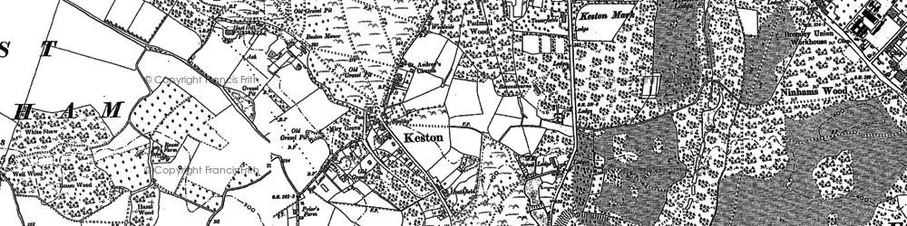 Old map of Keston in 1895