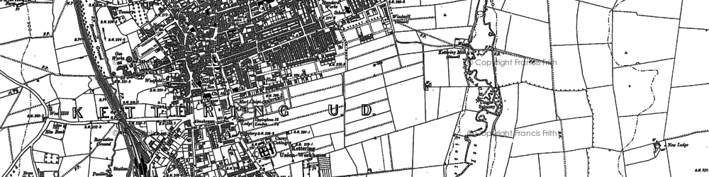 Old map of Kettering in 1884